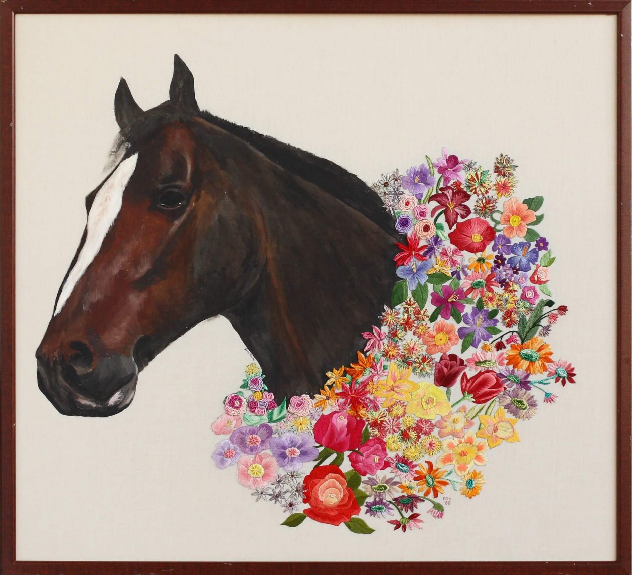 Embroidered Flower: Derby Horse