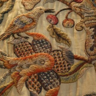 These 17th century Jacobean crewel bed hangings show A bounty of flora and fauna