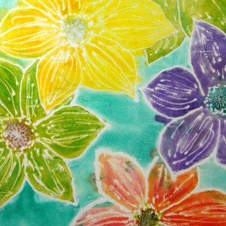 See the amazing art created in our 'Mark and Paint on Canvas and Fabric' course