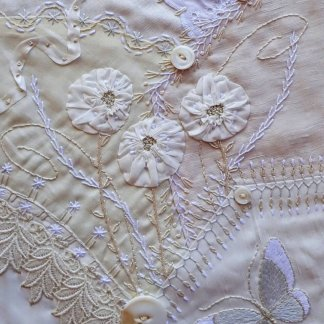 White On White Crazy Quilted Wallpiece with  J. Marsha Michler