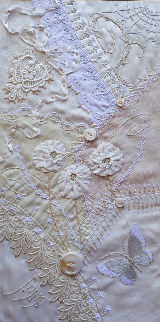 White On White Crazy Quilted Wallpiece