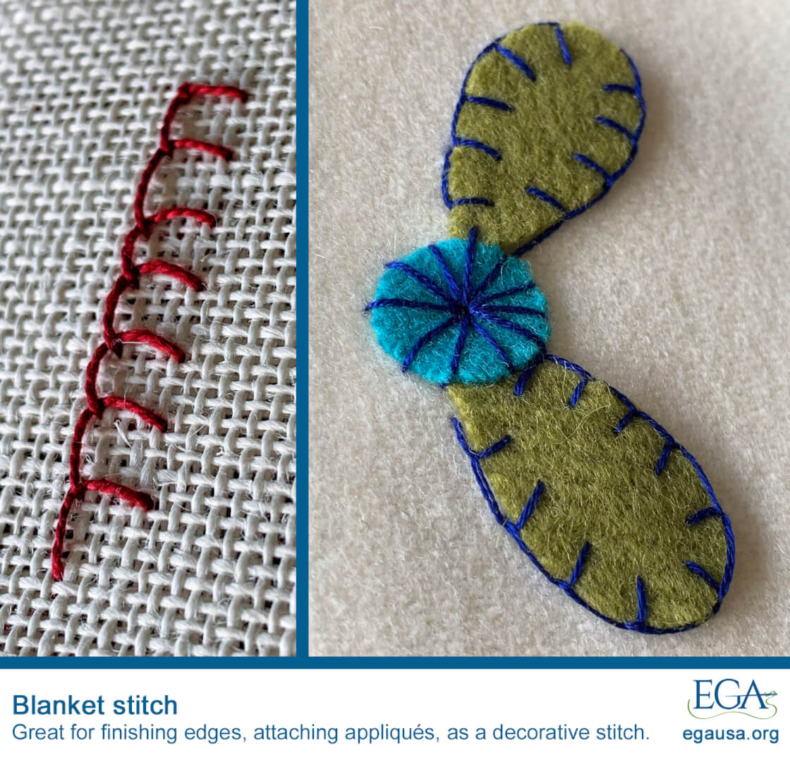 Blanket Stitch A Decorative Stitch That S Great For Finishing Edges And Attaching Appliques Ega