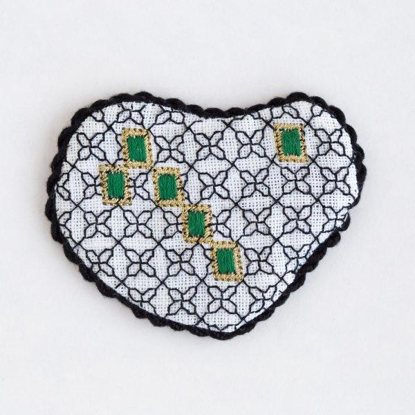 Blackwork Bejeweled Heart with green gems by Carol Lynn Stratton