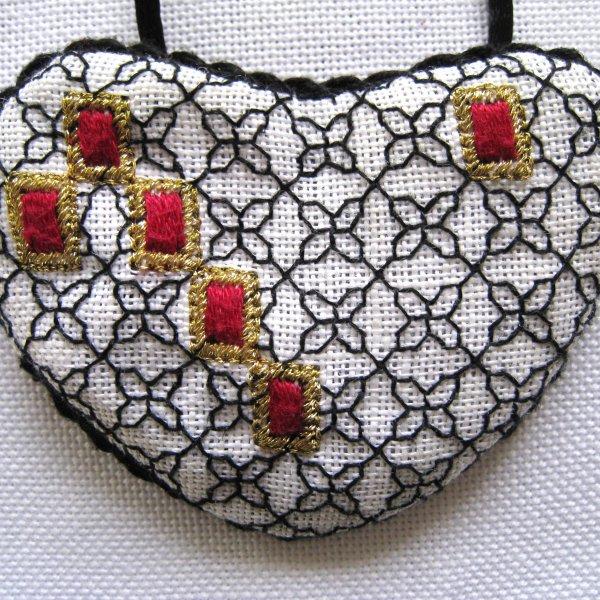 Blackwork Bejeweled Heart with red gems by Carol Lynn Stratton