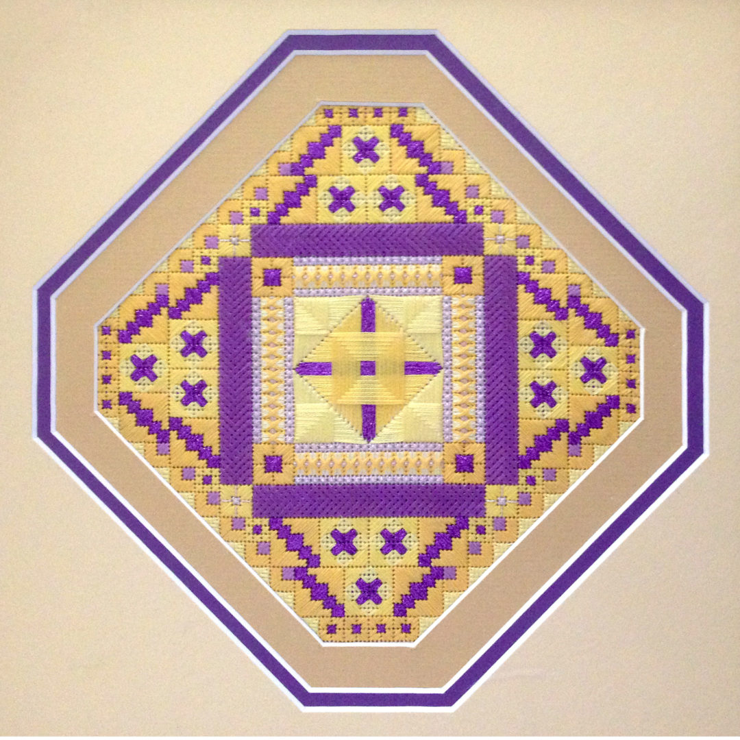 Mexican Tile in Alternate Colorway: Purple and Gold