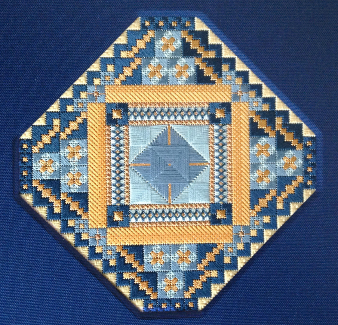 Mexican Tile in Main Colorway: Blue and Apricot